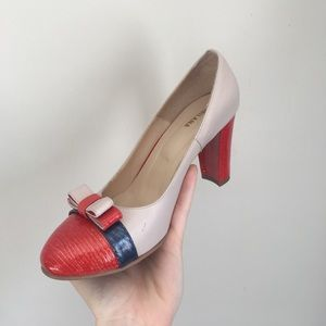 Milana designer leather heels, bow red and beige